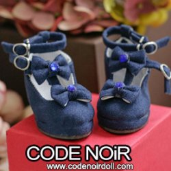 CMS000156 Navy Suede T-Strap Ribbon Shoes