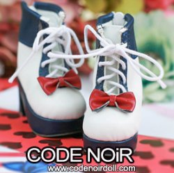 CMS000132 Navy/White Lolita Ankle Boots