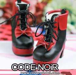 CMS000130 Black/Red Lolita Ankle Boots