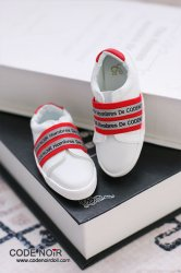 CBS000041 White Casual Shoes (Red Strap)