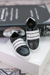 CBS000038 Black Casual Shoes (White Strap)