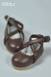 CYS000030 Chocolate Cross Strap Mary Jane