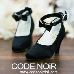 CMS000113 Black Silk Ribbon Heels