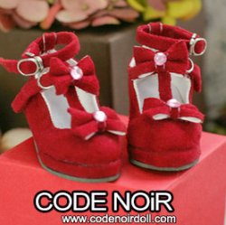 CMS000154 Red Suede T-Strap Ribbon Shoes