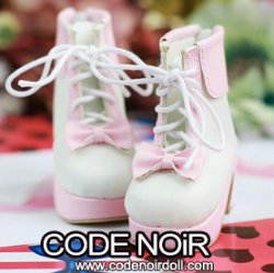 CMS000129 Pink/White Lolita Ankle Boots