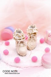 CMS000099 Beige Floral Ruffle Ankle Boots