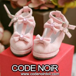 CMS000155 Pink Suede T-Strap Ribbon Shoes