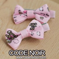 CAC000085 Pink Ribbon Hair Clips (Free Size)