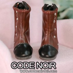 CYS000060 Dark Brown Two Tone Rivet Boots