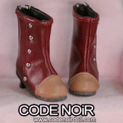 CYS000062 Burgundy Two Tone Rivet Boots